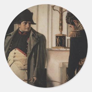 Vasily Vereshchagin- Napoleon y general Lauriston Pegatina Redonda
