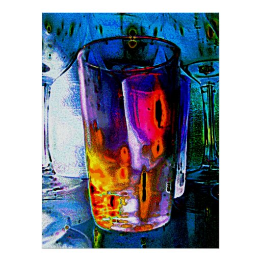 Vaso, vidrio coloreado multi póster