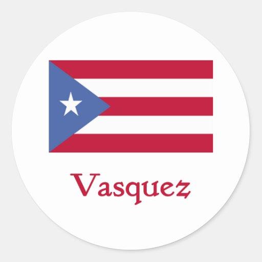 Vasquez Puerto Rican Flag Classic Round Sticker