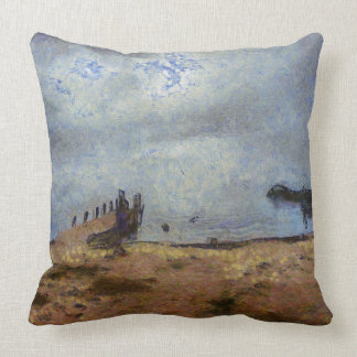 Vast blue beyond the shore throw pillow