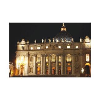 Vatican City Basilica at Night Canvas Prints