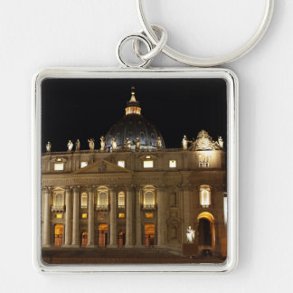 Vatican City Basilica at Night Keychain