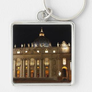 Vatican City Basilica at Night Keychains
