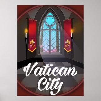 Vatican city cartoon travel poster