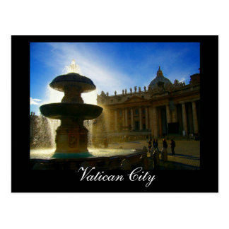 vatican city fountain postcard