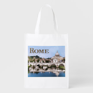 Vatican City Seen from Tiber River text   ROME Grocery Bag