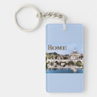 Vatican City Seen from Tiber River text   ROME Keychain
