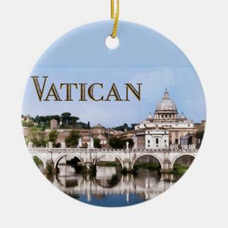 Vatican City Seen from Tiber River text   VATICAN Christmas Tree Ornaments