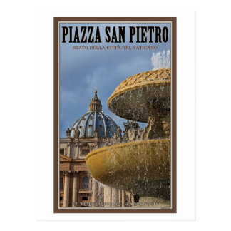 Vatican City - St Peters Square Fountain Postcard