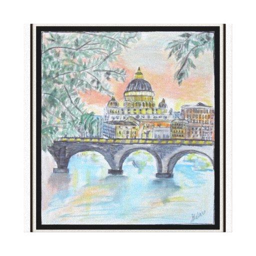 Vatican de desatención Pintura-Roma, Italia Impresión En Lienzo Estirada
