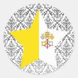 Vatican+Estrella de la ciudad Etiquetas Redondas