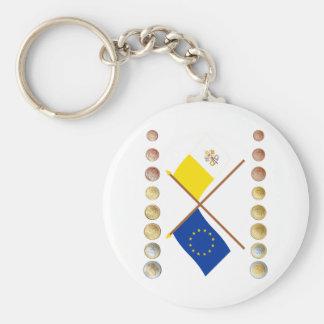Vatican Euros and EU & Vatican Flags (Series 1) Key Chain