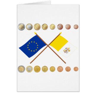 Vatican Euros and EU & Vatican Flags (Series 3) Greeting Card
