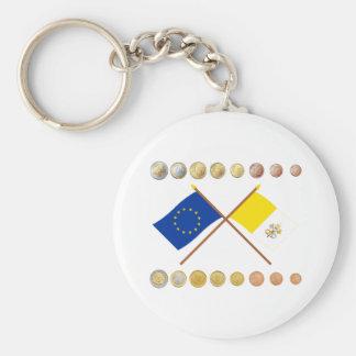 Vatican Euros and EU & Vatican Flags (Series 3) Keychain
