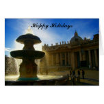 vatican fountain holidays greeting card