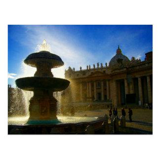 vatican fountain postcard