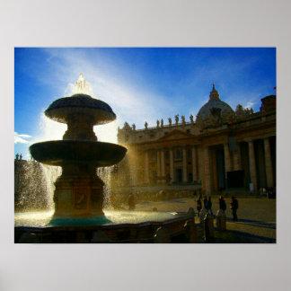 vatican fountain poster