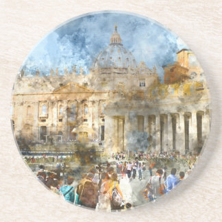 Vatican in  Rome Watercolor Coaster