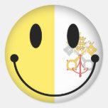 Vatican+Smiley de la ciudad Etiquetas Redondas