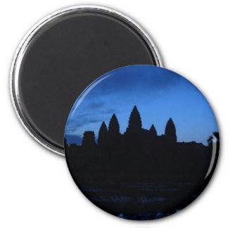 Vatio de Angkor en azul y negro Imán Redondo 5 Cm