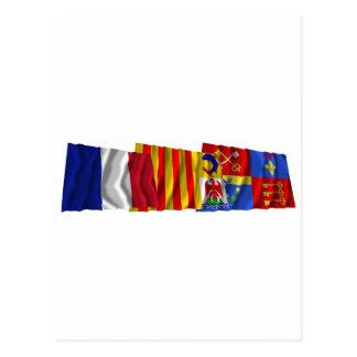 Vaucluse, Provence-Alpes-Côte-d'Azur & France flag Postcard