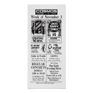 Vaudeville 1913 vintage lineup newspaper ad poster