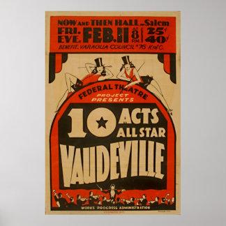 Vaudeville All Star 1938 WPA Vintage Poster
