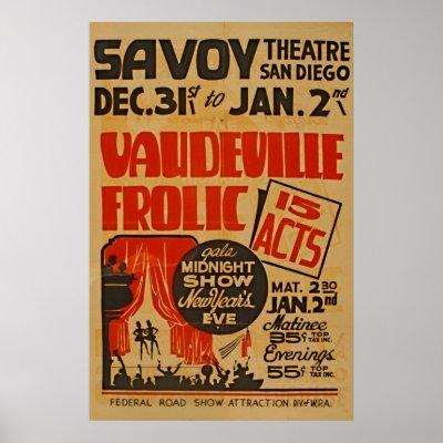 Vaudeville Vintage Poster 9 Big Acts Zazzle