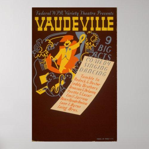 Vaudeville WPA Vintage Theatre Poster