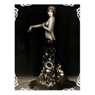 Vaudville Showgirl Vintage Postcard