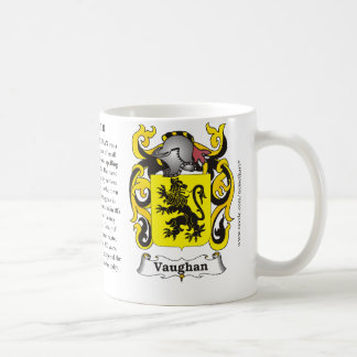 Vaughan, the origin, the meaning and the crest classic white coffee mug