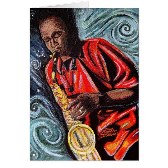 Vaughn Fahie que juega su saxofón Tarjeta De Felicitación