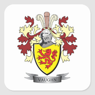 Vaughn Family Crest Coat of Arms Square Sticker