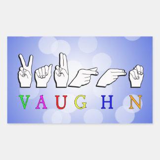 VAUGHN FINGERSPELLED NAME SIGN ASL RECTANGULAR STICKER