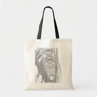 Vaulted ceiling etching tote bags