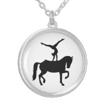 Vaulting horse silver plated necklace