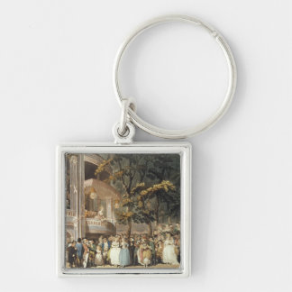 Vauxhall Gardens from Ackermann's Silver-Colored Square Keychain