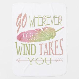Vaya a dondequiera que el viento le tome mantita para bebé
