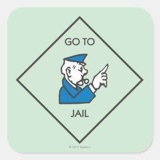 Vaya a encarcelar - el cuadrado de la esquina pegatina cuadrada