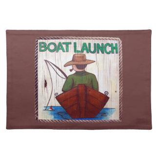 ¡Vaya a pescar! Lanzamiento del barco que pinta Pl Mantel Individual