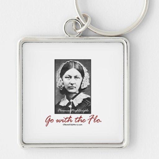 Vaya con Florence Nightingale Llavero Cuadrado Plateado