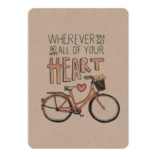 """Vaya con todo su corazón - bicicleta del vintage invitación 5"""" x 7"""""""