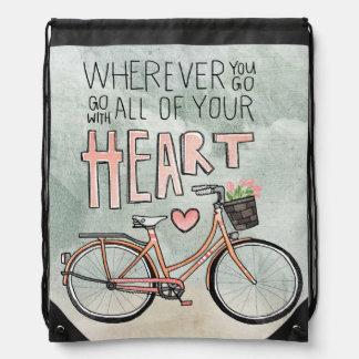 Vaya con todo su corazón - bicicleta del vintage mochila