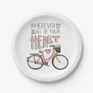 Vaya con todo su corazón - bicicleta del vintage plato de papel de 7 pulgadas
