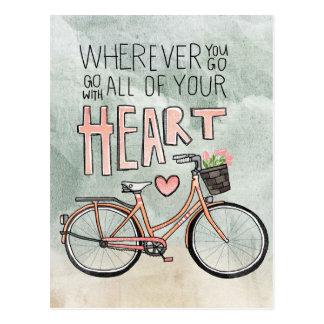 Vaya con todo su corazón - bicicleta del vintage postales