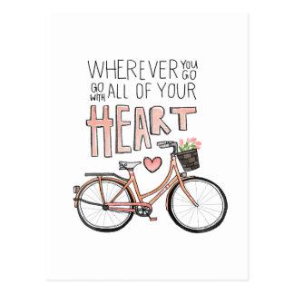 Vaya con todo su corazón - bicicleta del vintage tarjetas postales