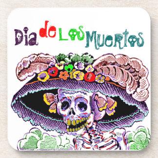 Vaya de fiesta a Coasters Dia de Los Muertos Day Posavasos De Bebidas