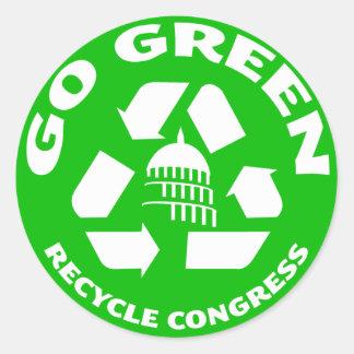 Vaya verde recicle al congreso - pegatinas