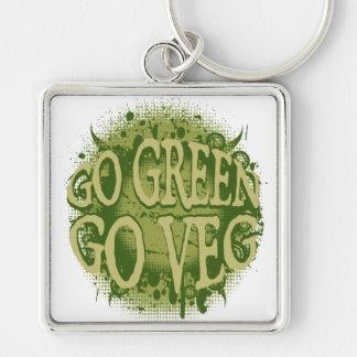 Vaya verde, vaya Veg Llavero Cuadrado Plateado