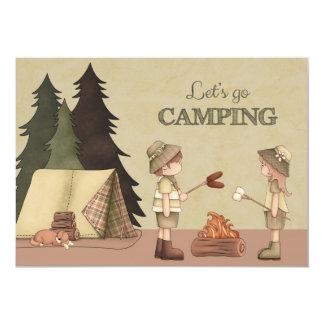 Vayamos a acampar - los campistas, hoguera, tienda invitación 12,7 x 17,8 cm
